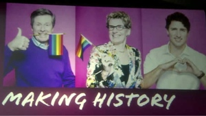 A slide at the unveiling of Toronto Pride Month events shows Mayor John Tory, Premier Kathleen Wynne and Prime Minister Justin Trudeau scheduled to attend this year's Pride Parade. This will be the first time that a sitting prime minister takes part in the event.