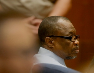 Lonnie Franklin Jr. appears in Los Angeles Superior Court during closing arguments of his trail Monday, May 2, 2016, in Los Angeles. (Mark Boster/Los Angeles Times via AP)