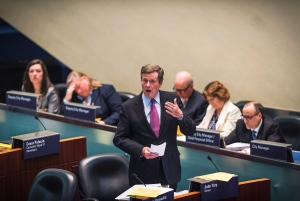 Mayor John Tory discusses the future of Uber in the Toronto City Hall Chambers in anticipation for a vote to determining the ridesharing app's future in Toronto on Tuesday, May 3, 2016. (The Canadian Press/Aaron Vincent Elkaim)