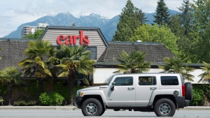 A Earls restaurant is pictured in North Vancouver, Thursday, April 28, 2016. A decision by Earls Restaurants to ditch Alberta beef in favour of hormone-free U.S. meat has prompted online threats to boycott the Canadian chain. THE CANADIAN PRESS/Jonathan Hayward