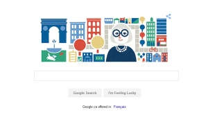 A Google doodle paying tribute to Jane Jacobs is pictured on Google's homepage on May 4, 2016, on what would have been her 100th birthday. (Google)