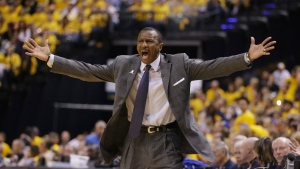 Toronto Raptors head coach Dwane Casey argues a call during the second half of Game 6 of an NBA first-round playoff basketball series against the Indiana Pacers, Friday, April 29, 2016, in Indianapolis. (AP Photo/Darron Cummings)