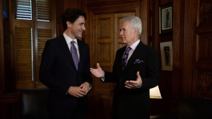 Prime Minister Justin Trudeau meets with Alex Trebek in his office on Parliament Hill in Ottawa on Thursday, May 5, 2016. THE CANADIAN PRESS/Sean Kilpatrick