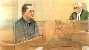 Steven Campbell is pictured in a courtroom sketch from May 6. (John Mantha)
