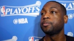 Miami Heat guard Dwyane Wade, speaks with the media after basketball practice,Thursday, April 28, 2016, at American Airlines Arena in Miami in preparation for Game 6 of an NBA first-round playoff basketball series. (David Santiago/El Nuevo Herald via AP)