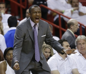 Toronto Raptors head coach Dwane Casey yells at his team during the second half of Game 4 of an NBA second-round playoff basketball series against the Miami Heat, Monday, May 9, 2016, in Miami. (AP Photo/Alan Diaz)