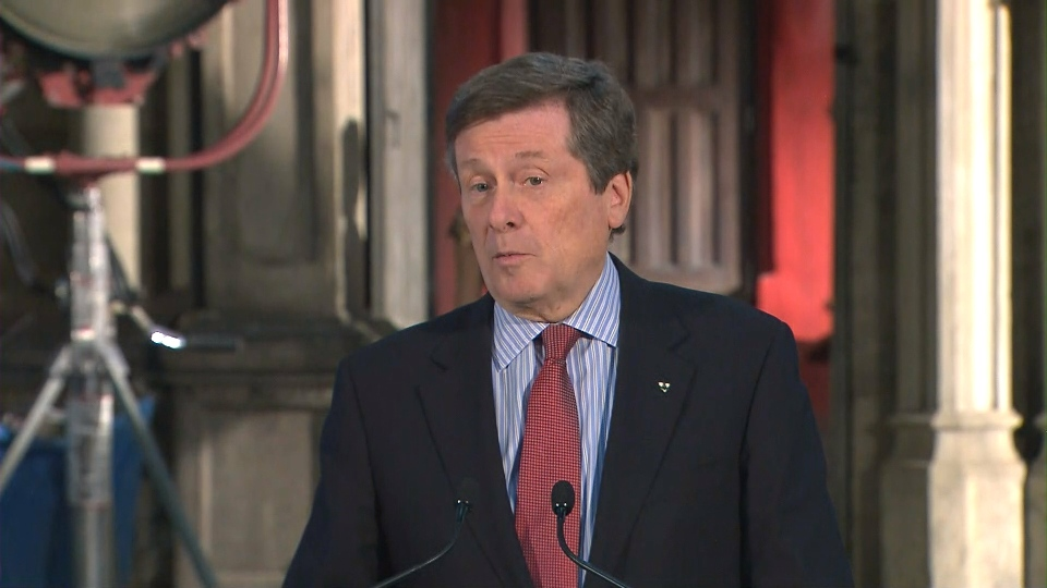 Mayor John Tory speaks at Cinespace Studio on Thursday.