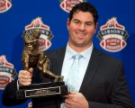 Montreal Alouettes' Josh Bourke holds his award for the CFL Outstanding Linesman in Vancouver in this Nov. 24, 2011, file photo. (The Canadian Press/Jonathan Hayward)