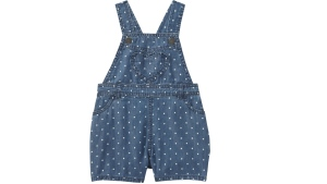 A pair of Joe Fresh baby girl denim overalls recalled over a possible choking hazard is pictured in this picture distributed by Loblaw.