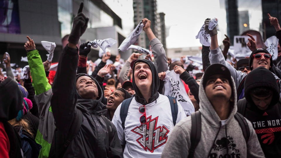 Toronto Raptors fans are seen outside the Air Canada Centre during game 7 against the Miami Heat in Toronto on Sunday, May 15, 2016. THE CANADIAN PRESS/Aaron Vincent Elkaim