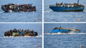 COMBO - In this four-picture combo people try to jump in the water right before their boat overturns off the Libyan coast, Wednesday, May 25, 2016. The Italian navy says it has recovered a few bodies from the overturned migrant ship off the coast of Libya, while some 500 migrants who were on board were rescued safely. (Italian navy via AP Photo)