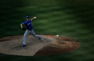 Toronto Blue Jays pitcher J.A. Happ (33) delivers against the New York Yankees during the sixth inning of a baseball game, Thursday, May 26, 2016, in New York. (AP Photo/Julie Jacobson)