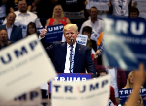 Republican presidential candidate Donald Trump speaks to supporters during a campaign rally at the Rimrock Auto Arena, in Billings, Mont., Thursday, May 26, 2016. (AP Photo/Brennan Linsley)