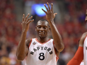 Toronto Raptors' Bismack Biyombo reacts after being called on a foul against the Cleveland Cavaliers during first half Eastern Conference final NBA playoff basketball action in Toronto on Friday, May 27, 2016. (The Canadian Press/Frank Gunn)