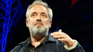 Sam Mendes speaking at the Hay Festival in Powys, Wales on May 28, 2016. (Kate Geen/REX/Shutterstock)