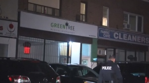 Police are investigating a shooting outside a pot dispensary in Scarborough overnight. No injuries were reported.