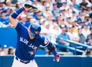 Toronto Blue Jays third baseman Josh Donaldson (20) breaks his bat in frustration after hitting a pop fly out to right field against the Boston Red Sox during seventh inning AL baseball action in Toronto on Sunday, May 29, 2016. (The Canadian Press/Nathan Denette)