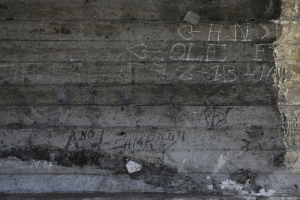 In this Monday, May 16, 2016 photo, some graffiti left by hobos including the ones by A-No 1 are seen under the bridge in Los Angeles. A-No. 1 was the moniker used by a man once arguably America's most famous hobo, one of the many itinerant wanderers who in the 19th and 20th centuries traveled from town to town, often by freight train, in search of brief work and lasting adventure. (AP Photo/Jae C. Hong)