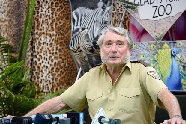 Gladys Porter Zoo facilities director Jerry Stones speaks to members of the media about his memory of Harambe, Monday, May 30, 2016, in Brownsville, Texas. (Jason Hoekema/The Brownsville Herald via AP)