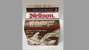 A partly-skimmed chocolate milk carton included in a food safety recall is pictured in this handout photo. (CFIA)