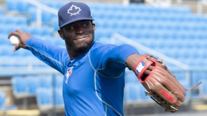 Toronto Blue Jays outfielder Anthony Alford throws at spring training in Dunedin, Fla. on Wednesday, February 24, 2016. (Frank Gunn / THE CANADIAN PRESS)