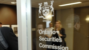 A sign for the Ontario Securities Commission in Toronto is pictured in this file photo. (CP PHOTO/Aaron Harris)