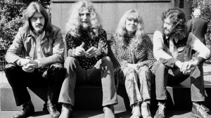 File photo dated 16/09/1970 of Led Zeppelin (left-right) John Bonham, Robert Plant and Jimmy Page with singer Sandy Denny as an unreleased version of one of the most celebrated songs in rock, Stairway To Heaven, is to come out later this year - after sitting in the vaults for more than 40 years.