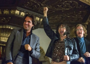 "In this image released by HBO, Bobby Cannavale, from left, P.J. Byrne, and J.C. MacKenzie appear in a scene from ""Vinyl."" HBO said Wednesday, June 22, 2016, it won't bring 'Vinyl' back for a second season, reversing its previously announced renewal. (Patrick Harbron/HBO via AP)"