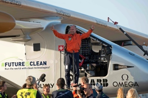 Pilot Bertrand Piccard, celebrates after landing the solar-powered plane at San Pablo airport in Seville, Spain Thursday, June 23, 2016. An experimental solar-powered airplane Thursday completed an unprecedented three-day flight across the Atlantic in the latest leg of its globe-circling voyage.The Solar Impulse 2 landed in Seville in southern Spain at 0540 GMT on Thursday, ending a 70-hour flight which began from New York City on Monday. It was the first time a solar-powered plane has made such a journey using zero fuel and zero emissions, organizers said. AP Photo/Laura Leon)