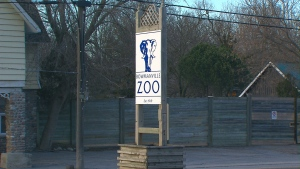 A sign for the Bowmanville Zoo is seen in this undated file photo.