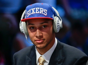Ben Simmons answers questions during an interview after being selected as the number one pick overall by the Philadelphia 76ers during the NBA basketball draft on Thursday, June 23, 2016, in New York. (AP Photo/Frank Franklin II)