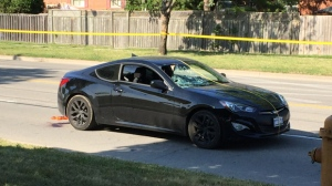 A vehicle involved in a collision with a teenage boy in Etobicoke is shown on June 24. (Jackie Crandles/CP24)