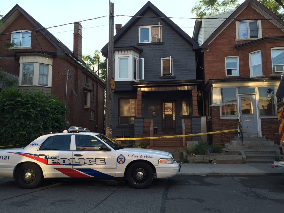 One man is in critical condition after a house fire in Parkdale. (Arda Zakarian/ CP24)