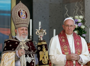 "Pope Francis, right, participates in the Divine Liturgy celebrated by Catholicos Karekin II, left, at the Armenian Apostolic Cathedral in Etchmiadzin, Yerevan, Armenia, Sunday, June 26, 2016. Francis called Sunday for closer ties with Armenia's Orthodox church as he wrapped up his three-day visit with a liturgy and visit to the country's closed border with Turkey amid new tensions with Ankara over his recognition of the 1915 ""genocide."" (AP Photo/Andrew Medichini)"