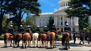 Sacramento police mounted officers prepare for crowd control after a scuffle broke out at a protest near the Capitol in Sacramento, Calif., on Sunday, June 26, 2016. Officials said several were stabbed when members of right-wing extremists groups holding a rally clashed with counter-protesters. (Jerry H. Yamashita via AP)