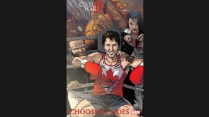 "The variant cover of the comic Civil War II: Choosing Sides #5, featuring Prime Minister Justin Trudeau surrounded by the members of Alpha Flight: Sasquatch, top, Puck, bottom left, Aurora, right, and Iron Man in the background is shown in a handout photo. Make way, Liberal cabinet: Prime Minister Justin Trudeau will have another all-Canadian crew in his corner as he suits up for his latest featured role: comic book character. Trudeau will grace the variant cover of issue No. 5 of Marvel's ""Civil War II: Choosing Sides"" due out Aug. 31. THE CANADIAN PRESS/HO - Ramon Perez"