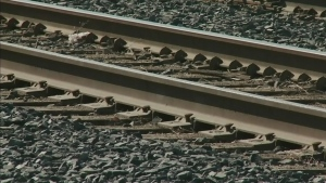 Train tracks are pictured in this file image.
