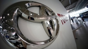 Toyota logo is seen at a Toyota showroom in Tokyo, Wednesday, June 29, 2016. Toyota is recalling 1.43 million vehicles globally for defective air bags that are part of the massive recalls of Takata air bags, the Japanese automaker said Wednesday. (AP Photo/Eugene Hoshiko)