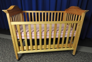 This undated image provided by the Consumer Product Safety Commission (CPSC) shows a drop-side crib. (AP Photo/Consumer Product Safety Commission )