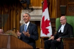 U.S. President Barack Obama addresses Parliament in the House of Commons on Parliament Hill, as House Speaker Geoff Regan looks on, in Ottawa on Wednesday, June 29, 2016. THE CANADIAN PRESS/Justin Tang