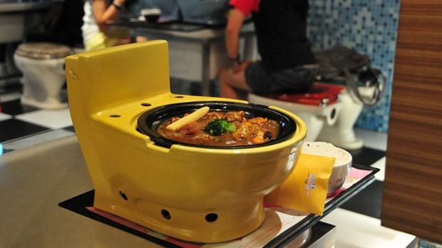 modern toilet, restaurant, poop cafe