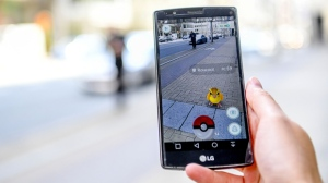 A smartphone displaying the Pokemon GO app is shown in Belgium in July 2016. (Isopix/REX/Shutterstock)