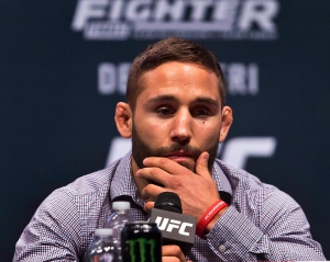 UFC featherweight fighter Chad Mendes listens during a UFC 194 news conference at the MGM Grand Garden Arena in Las Vegas on Wednesday, Dec. 9, 2015. (L.E. Baskow/Las Vegas Sun via AP)