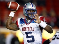 Montreal Alouettes quarterback Adrian McPherson looks for a receiver during second half CFL football action in Calgary on Friday, Oct. 1, 2010. (The Canadian Press/Jeff McIntosh)