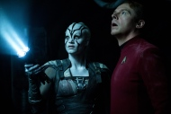 "In this image provided by Paramount Pictures, Sofia Boutella, left, plays Jaylah and Simon Pegg plays Scotty in Star Trek Beyond. ""Star Trek Beyond"" has landed atop the weekend box office. According to studio estimates Sunday, July 24, 2016, the latest outing for the Starship Enterprise soared to $59.6 million in North American ticket sales, knocking ""The Secret Life of Pets"" from the No. 1 spot. (Kimberley French/Paramount Pictures via AP)"