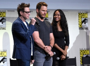 """Director James Gunn, from left, Chris Pratt and Zoe Saldana attend the """"Guardians of the Galaxy Vol. 2"""" panel on day 3 of Comic-Con International on Saturday, July 23, 2016, in San Diego. (Photo by Chris Pizzello/Invision/AP)"""