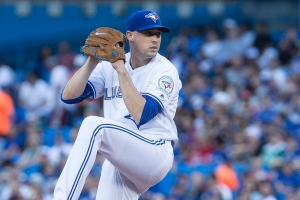 Toronto Blue Jays starting pitcher Aaron Sanchez (41) works against the San Diego Padres during first inning Major League Baseball action in Toronto on Monday, July 25, 2016. THE CANADIAN PRESS/Chris Young