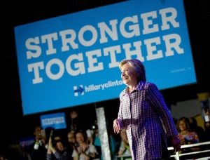 Democratic presidential candidate Hillary Clinton arrives to speak to volunteers at a Democratic party organizing event at the Neighborhood Theater in Charlotte, N.C., Monday, July 25, 2016. (AP Photo/Andrew Harnik)