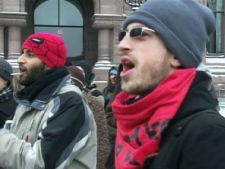 Members of CUPE gathered outside Queen's Park Thursday to protest the passing of legislation that forces them off the picket lines and back to work at York University.