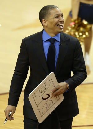In this Wednesday, June 8, 2016 photo, Cleveland Cavaliers head coach Tyronn Lue reacts during the second half of Game 3 of NBA basketball Finals against the Golden State Warriors in Cleveland. Lue has agreed to a multiyear extension with the NBA champions, said the person who spoke Monday, July 25, to The Associated Press on condition of anonymity because it has not been signed. (AP Photo/Ron Schwane)